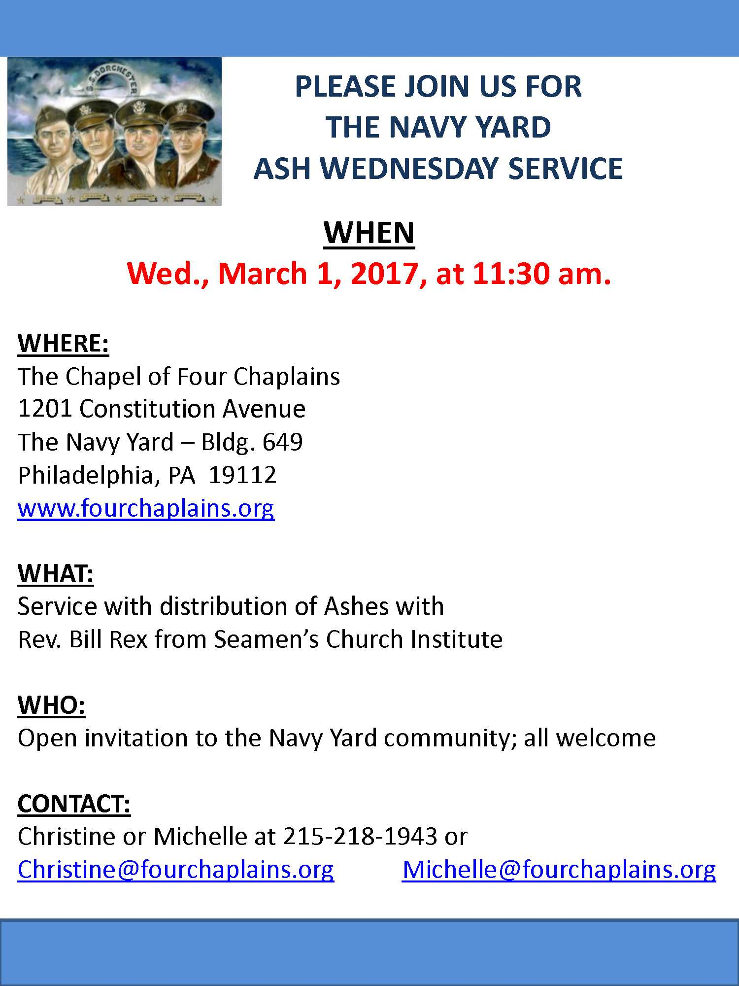Seaman Car Service >> The Chapel of Four Chaplains invites the Navy Yard community to join Rev. Bill Rex from the ...